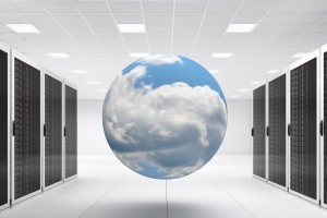data center with cloud globe
