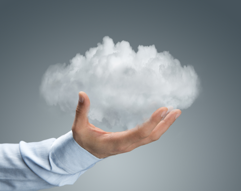Cloud computing, close up of male hand holding cloud with copy s