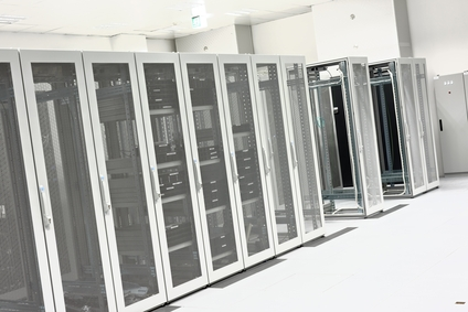 Clean industrial interior of a server room with servers