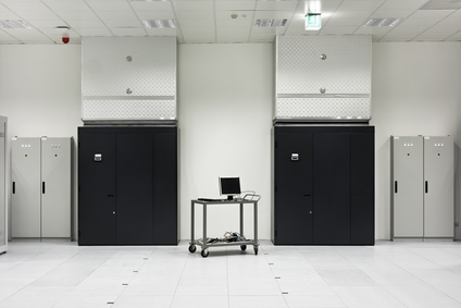 Part of a modern data center with server rack