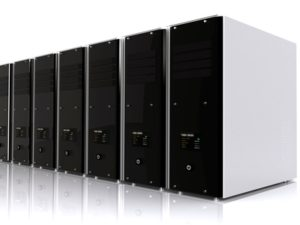 3d computer servers over a white background with a reflection on the floor