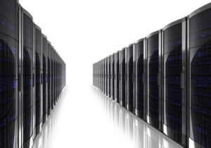 Server room interior isolated on white reflective background